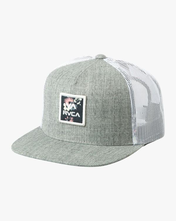 0 VA All The Way Printed Trucker Hat Grey MAHWQRTP RVCA