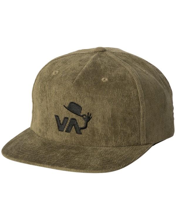 0 Nod Corduroy Strapback Hat Green MAHWWRNS RVCA