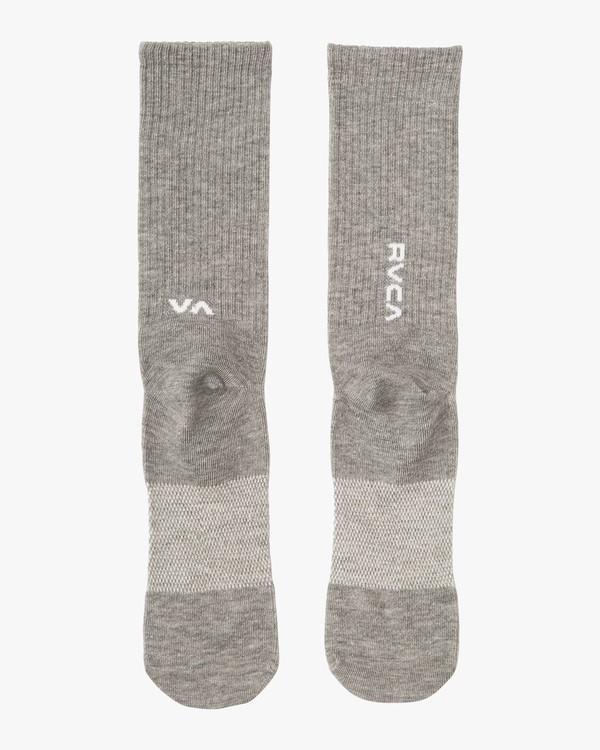 0 RVCA Sport Hi Crew Socks Grey MASOQRSH RVCA