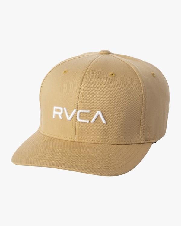 0 RVCA Flex Fit Baseball Hat White MHAHWRFF RVCA