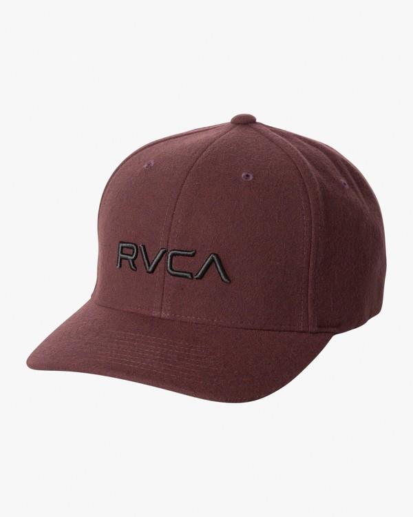 0 RVCA Flex Fit Baseball Hat Red MHAHWRFF RVCA