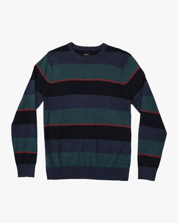 0 Kemper Striped Knit Sweater Blue MV31WRKE RVCA