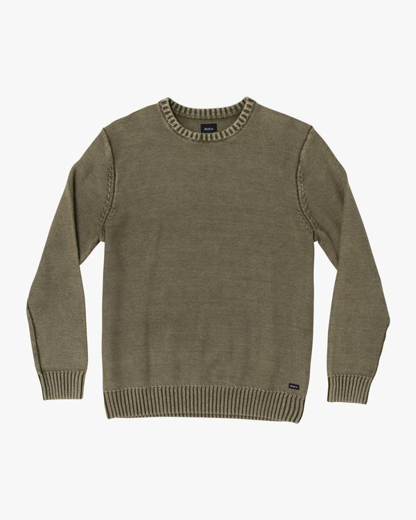 0 Cal Stone Washed Sweater Green MV33WRCA RVCA