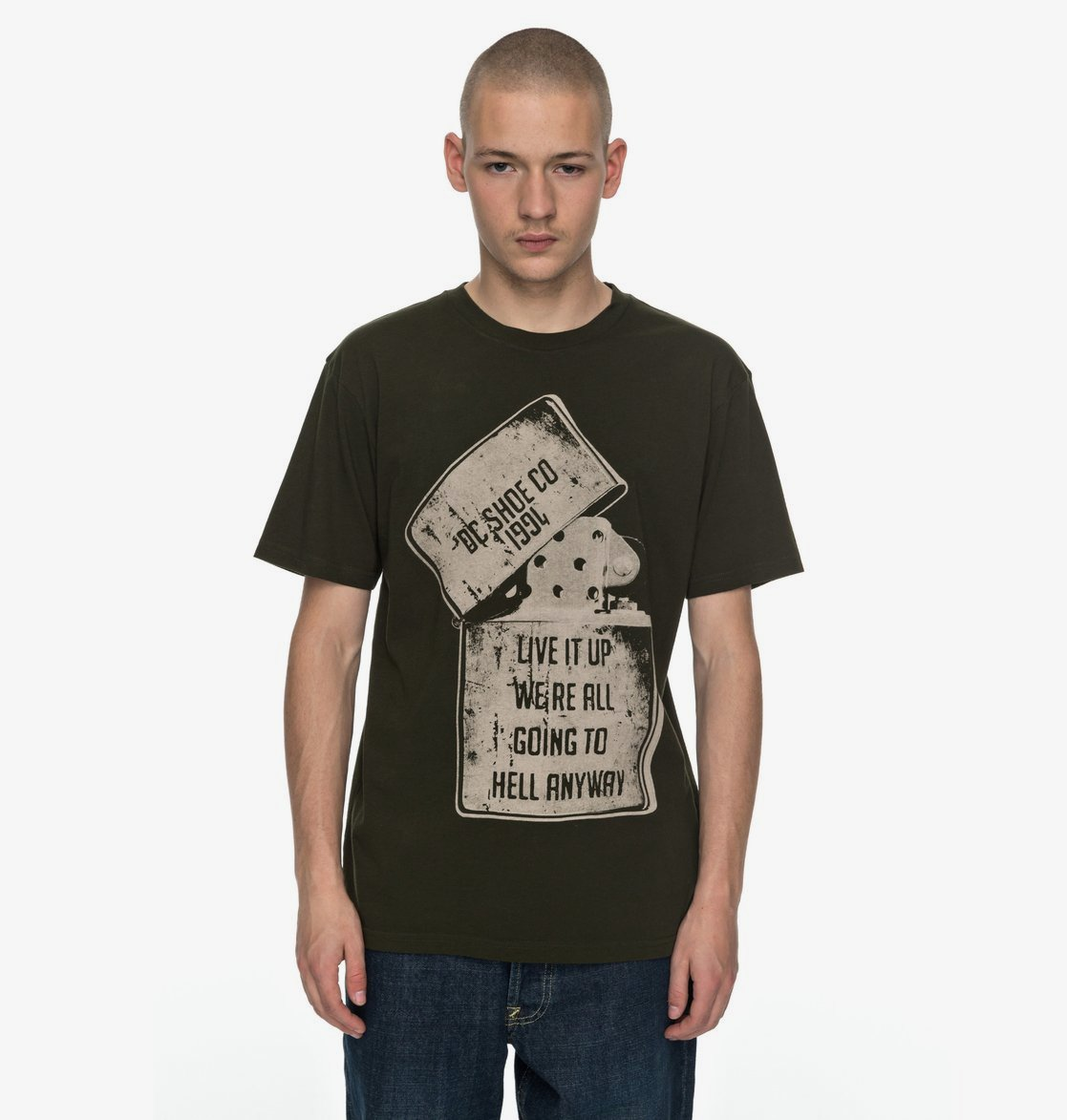 Dark Olive DC SHOES T-SHIRT DEAD above SS