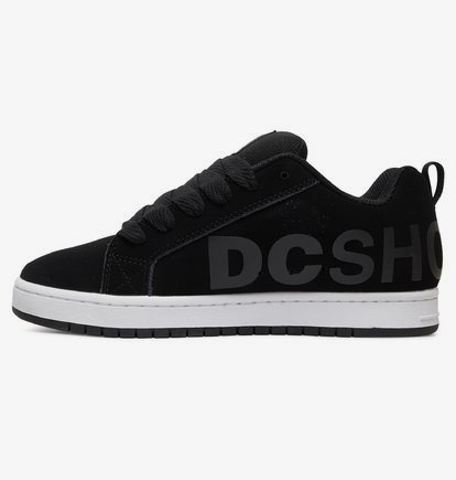 DC Court Graffik SE Black Grey White Mens Leather Skate Trainers