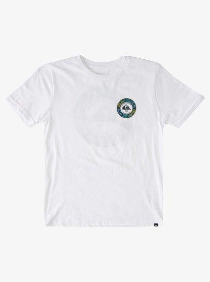 Quiksilver Kids Boys Cotton Graphic Grey White Blue Tee T Shirt Top 10 14 16