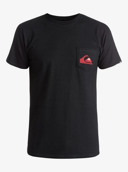 White//Black Quiksilver Mens Everyday Logo Pocket T-Shirt