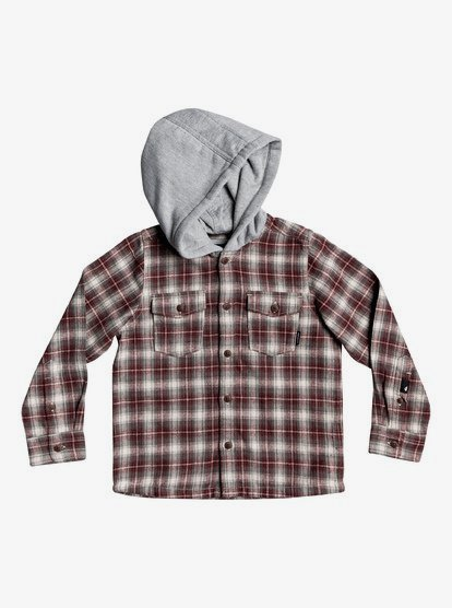 Tianhaik 2-7T Unisex Kid Red Plaid Hoodie Coat Button Down Long Sleeve Flannel Shirt for Boys Girls