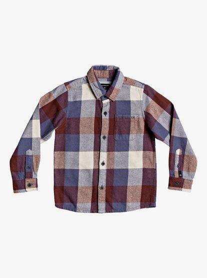 Quiksilver Boy/'s Pastel Blue Red L//S Flannel Shirt S03
