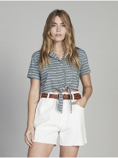 new styles 98797 99614 Quiksilver Womens - Camicia accorciata a maniche corte da Donna