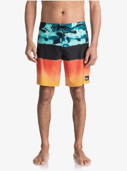 Blue Yellow and Black Pastel Spill Elastic Hybrid Beach Shorts
