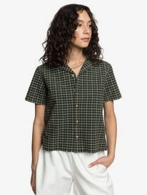 CROP CHECK CAMP SHIRT  EQWWT03035
