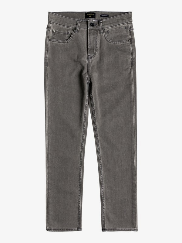 0 Ibaraki Cement Wash - Straight Fit Ankle Length Jeans for Boys 8-16 Black EQBDP03152 Quiksilver