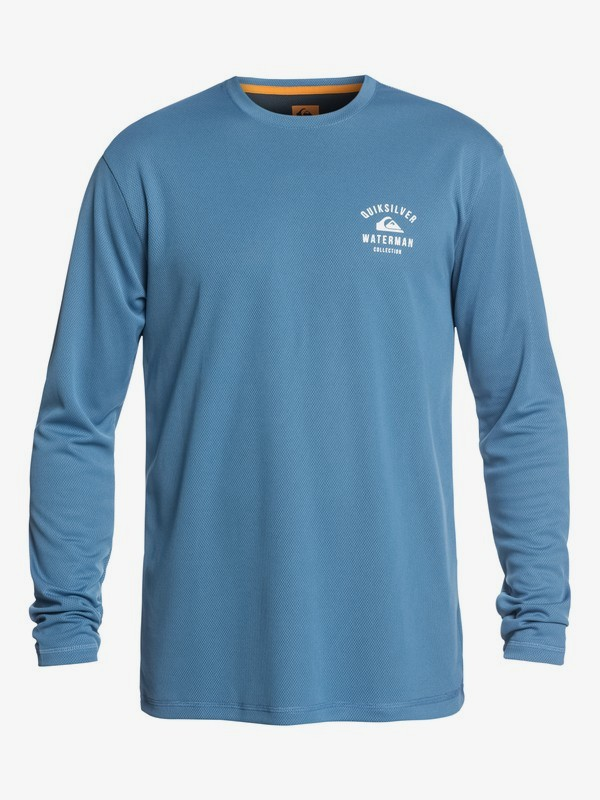 0 Waterman Gut Check - Amphibian Long Sleeve UPF 40 Rash Vest for Men Blue EQMWR03041 Quiksilver