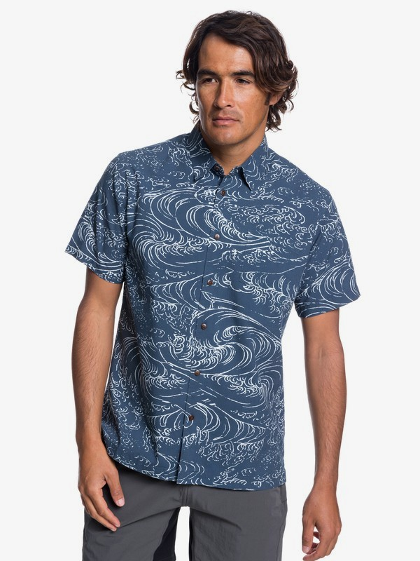 0 Waterman Wind And Waves - Short Sleeve Shirt for Men Blue EQMWT03192 Quiksilver