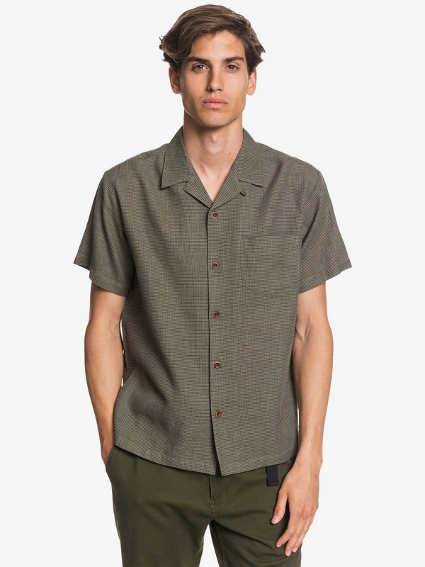 Waterman Fifties Micro - Short Sleeve Hemp Shirt  EQMWT03300