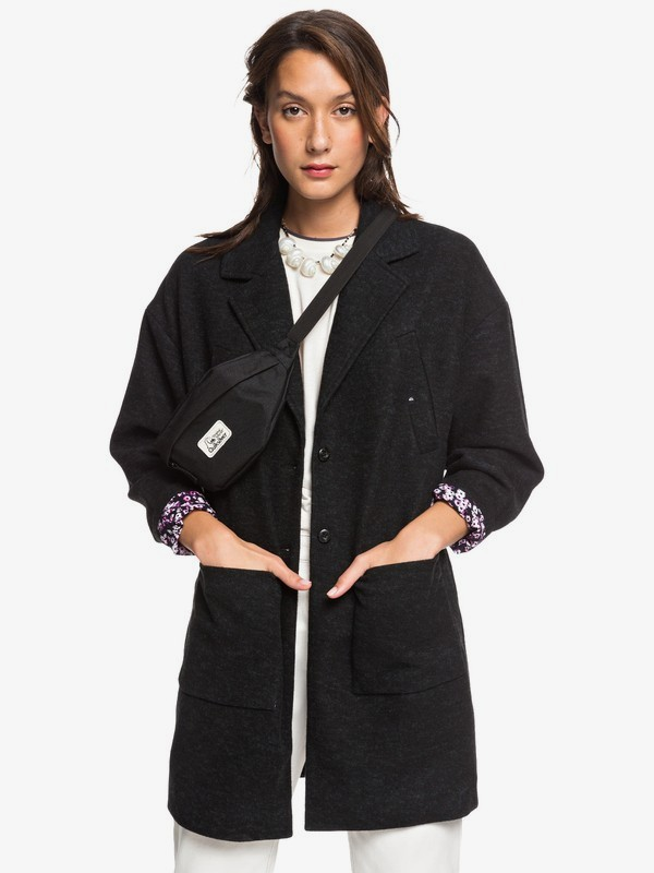 Quiksilver Womens - Oversized Longline Wool Blend Coat for Women EQWJK03015