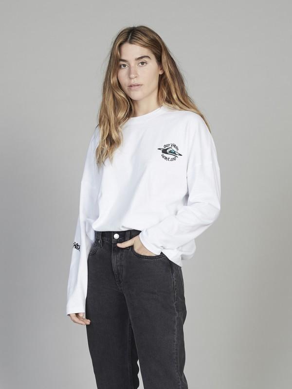 0 Quiksilver Womens - Camiseta de Corte Cuadrado con Manga Larga para Mujer Blanco EQWKT03027 Quiksilver