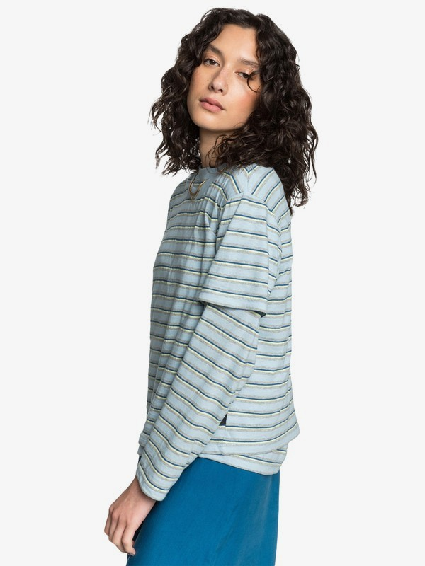 FLUID STRIPES CROP TEE  EQWKT03045