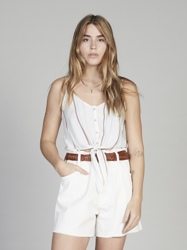 0 Quiksilver Womens - Button-Front Cropped Strappy Top for Women White EQWWT03009 Quiksilver