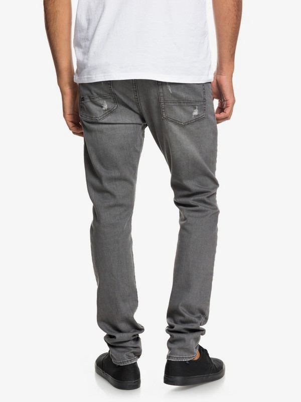 Low Bridge Grey Damaged - Slim Fit Drop Crotch Jeans for Men  EQYDP03371