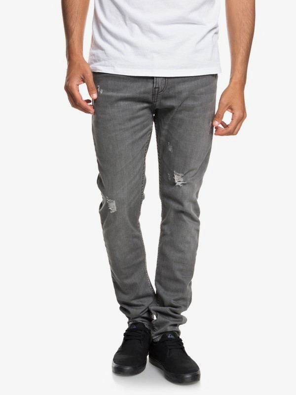 0 Low Bridge Grey Damaged - Slim Fit Drop Crotch Jeans for Men Grey EQYDP03371 Quiksilver