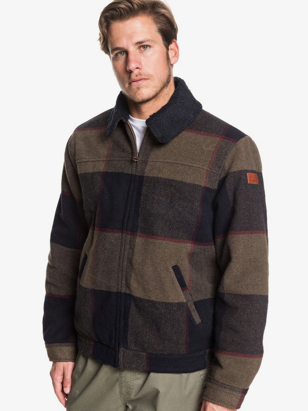 0 Hurry Down - Sherpa Collar Zip-Up Jacket for Men Brown EQYJK03515 Quiksilver