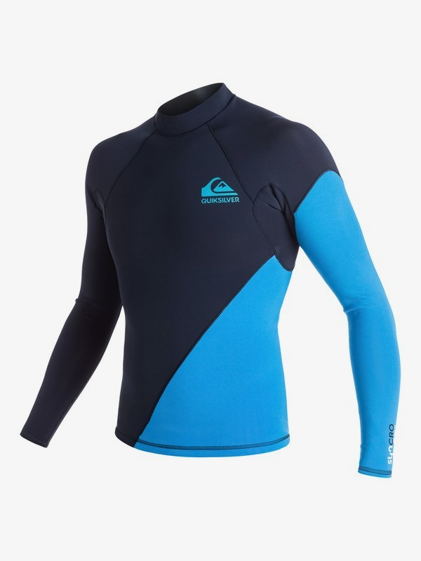 0 1mm Syncro New Wave - Long Sleeve Neoprene Top for Men Blue EQYW803004 Quiksilver