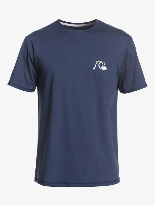 0 Bubble Logo - Short Sleeve UPF 50 Rash Vest for Men Blue EQYWR03201 Quiksilver