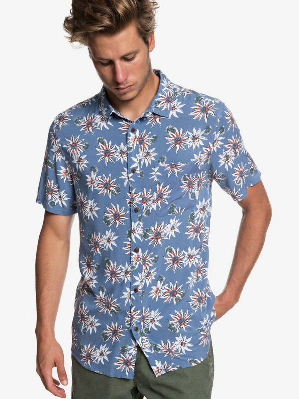 0 Fluid Geometric - Short Sleeve Shirt for Men Blue EQYWT03798 Quiksilver