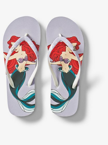 Roxy Girl x Disney Little Mermaid Pebbles VI Flip Flops Sandals Teal Blue