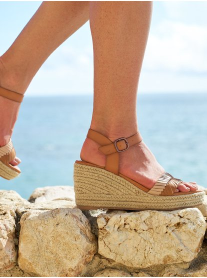 Gabrielle Strappy Wedge Sandals
