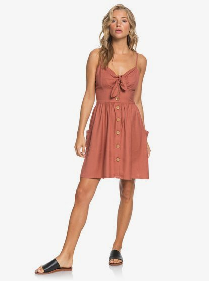 Roxy Womens Under The Under The Cali Sun Button Front Dress
