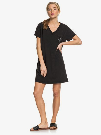 Night Shimmers Short Sleeve V Neck T Shirt Dress