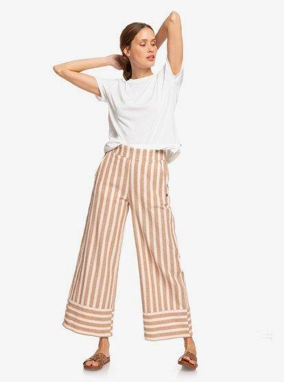 Wild Ideas Wide Leg Linen Pants ERJNP03247   Roxy