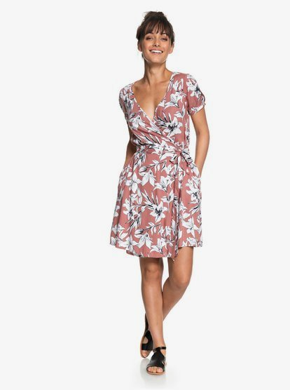 Roxy Womens Keep The Tempo Full Length Wrap Dress