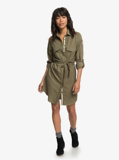 ROXY Womens Khaki Sphere Shirt Dress