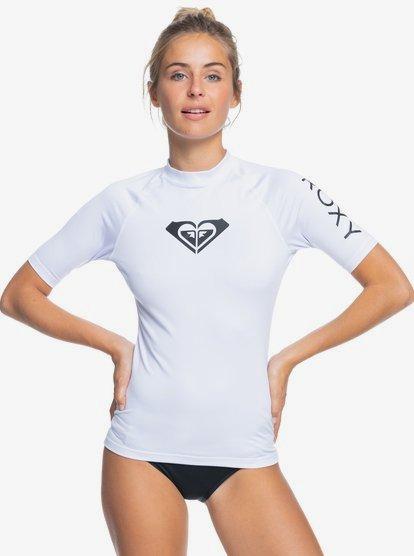 록시 Roxy Whole Hearted Short Sleeve Rashguard,WHITE wbb1