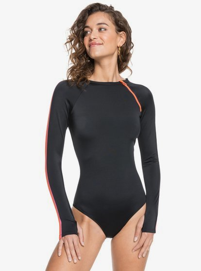 ROXY Fitness Long Sleeve UPF 50 One-Piece Swimsuit,ANTHRACITE kvj0