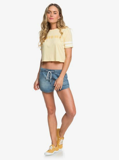 Roxy Womens Wondering Why Cropped Short Sleeve Tee