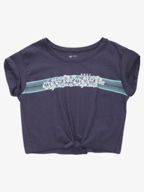 Retro Hibiscus Stripe - Tie-Front T-Shirt for Girls 4-16  ARGZT03662