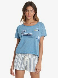 Wave Stripe - Drop Shoulder T-Shirt for Women  ARJZT06050
