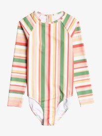 Colorful Party - Recycled Long Sleeve UPF 50 One-Piece Rashguard for Girls 8-16  ERGWR03245