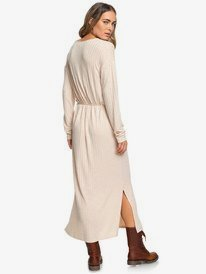 The Winter Dress - Long Sleeve Rib Knit Short Maxi Dress for Women  ERJKD03269