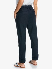 On The Seashore - Linen Cargo Trousers for Women  ERJNP03294