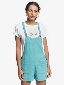 Compass Direction - Linen Dungaree Shorts  ERJWD03444
