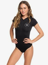 Essentials - Short Sleeve Front Zip One-Piece Swimsuit for Women  ERJWR03282