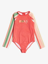 Stripey Sky - Recycled Long Sleeve UPF 50 One-Piece Rashguard for Girls 2-7  ERLWR03191