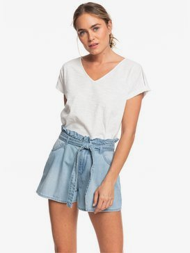 Salento Playa - High Waist Paper Bag Denim Shorts  ERJDS03221
