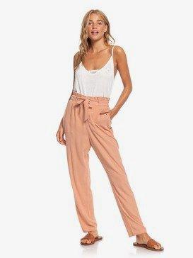 Flowered Swing - High Waist Paper Bag Trousers  ERJNP03285